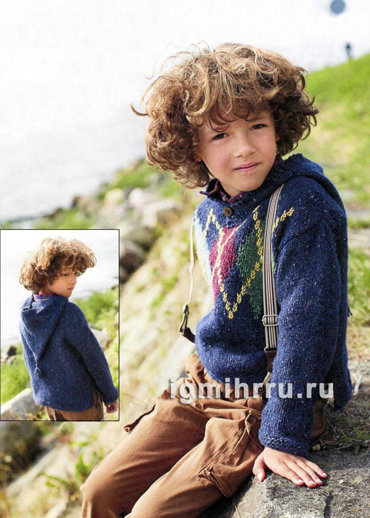Для мальчика 4-10 лет. Теплый пуловер с капюшоном и узором из ромбов. Вязание спицами