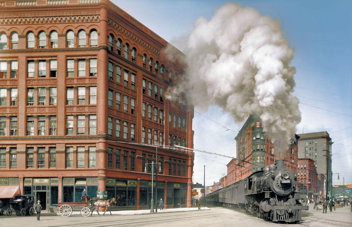 1905. «Empire State Express» (Центральная железная дорога Нью-Йорка) проходит по Вашингтон-стрит, Нью-Йорк