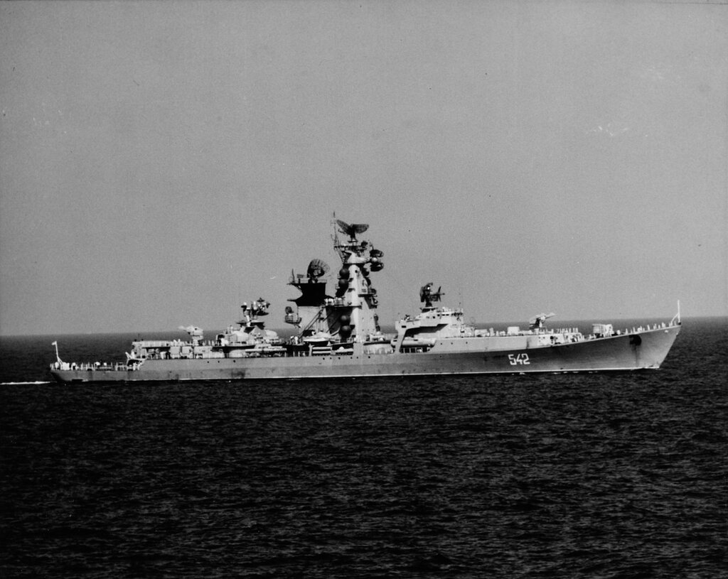 KRESTA Class. Soviet guided missile destroyer. Photographed in the Mediterranean in April 1969.