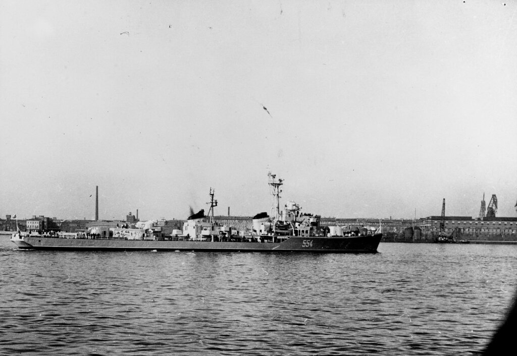 Soviet SKORYY Class Destroyer photographed in a Baltic port during mid-1963.