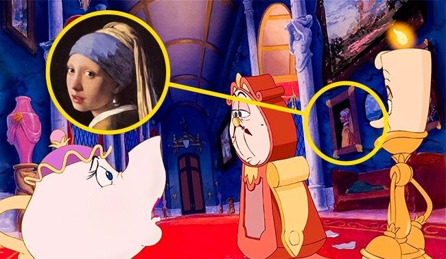 © Walt Disney  Вовремя совета Люмьера, Когсворта имиссис Поттс взале можно увидеть известну