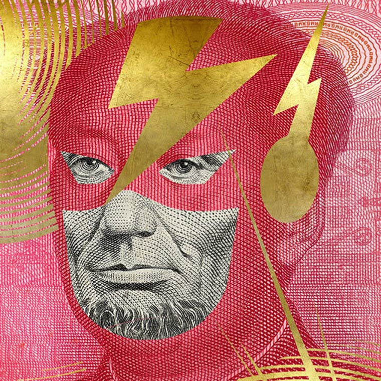 Facebank – Bank notes defaced into ironic superheroes against crisis (11 pics)