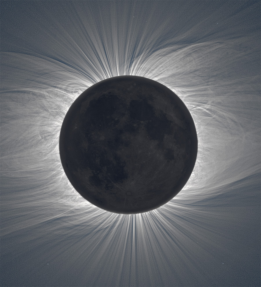 Composite Image of the Moon Taken from 47 Photos Reveals Solar Corona During a Total Solar Eclipse