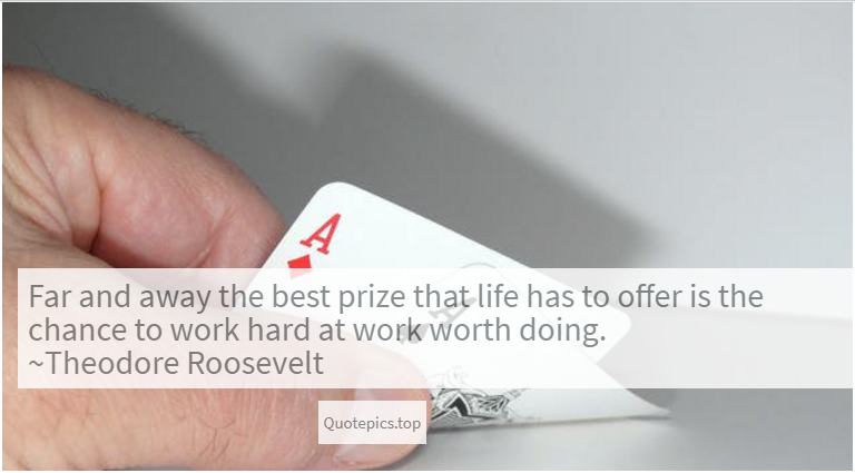 Far and away the best prize that life has to offer is the chance to work hard at work worth doing. ~Theodore Roosevelt