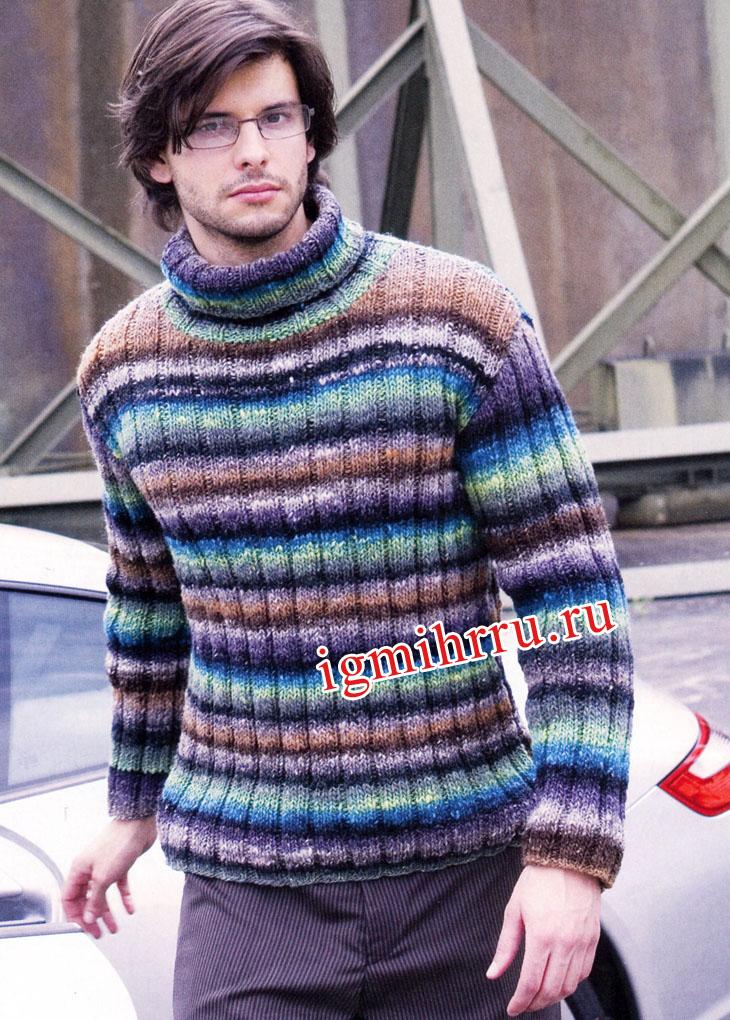 Мужской теплый свитер в полоску. Вязание спицами