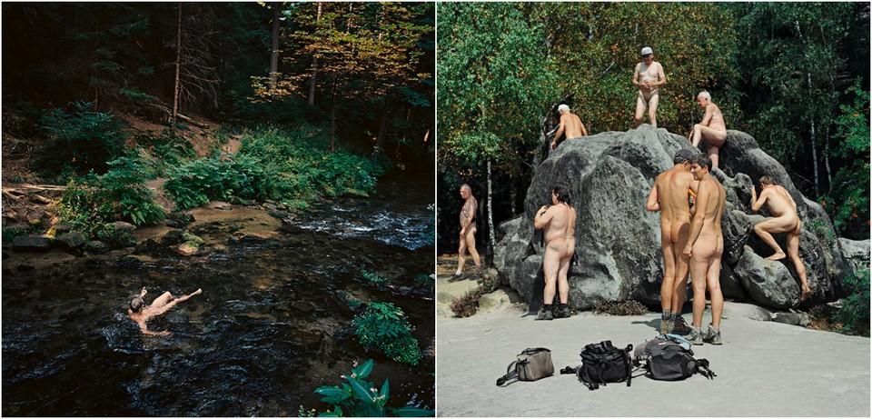 Naked tourists