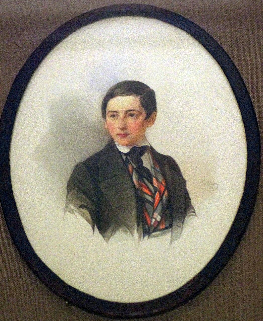 Владимир Иванович Гау. Портрет неизвестного в клетчатом жилете. 1847