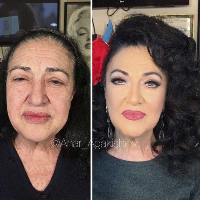 До и После: визажист превращает пожилых женщин в молодых девиц