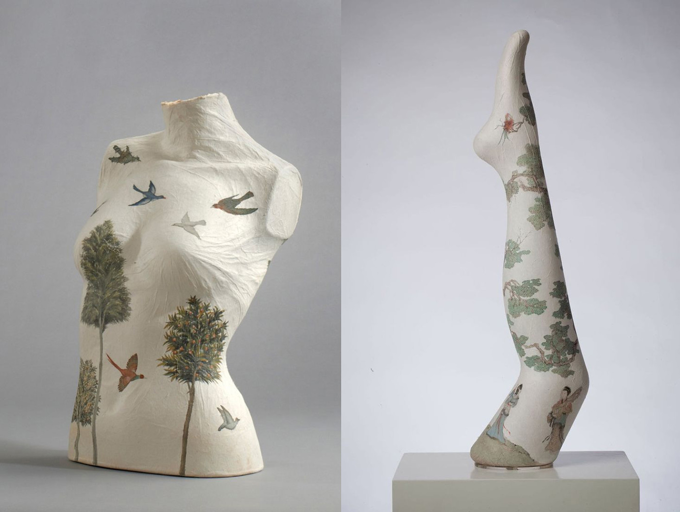 Paper-Cast Sculptures of Legs and Torsos Covered in Traditional Chinese Paintings by Peng Wei
