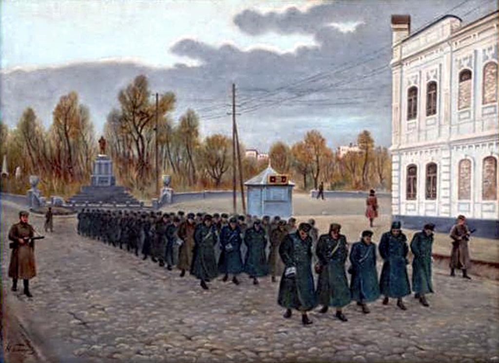 Н.Г. Гончаров Колонна немецких пленных идет по улице Ленина 1947