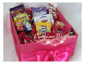 подарки, оформление подарка, коробка с шоколадом, букет из конфет, рукоделки василисы
