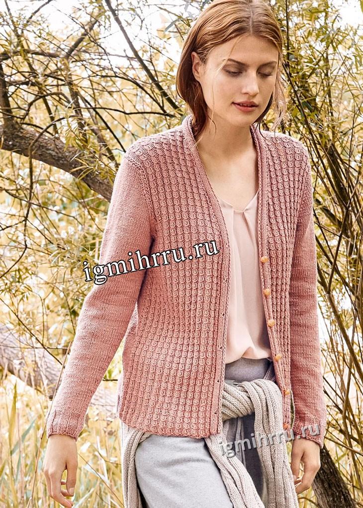 Розовый жакет с мелкими косами. Вязание спицами