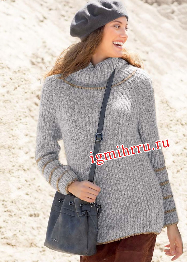 Серый теплый пуловер с патентным узором и рубчиками. Вязание спицами