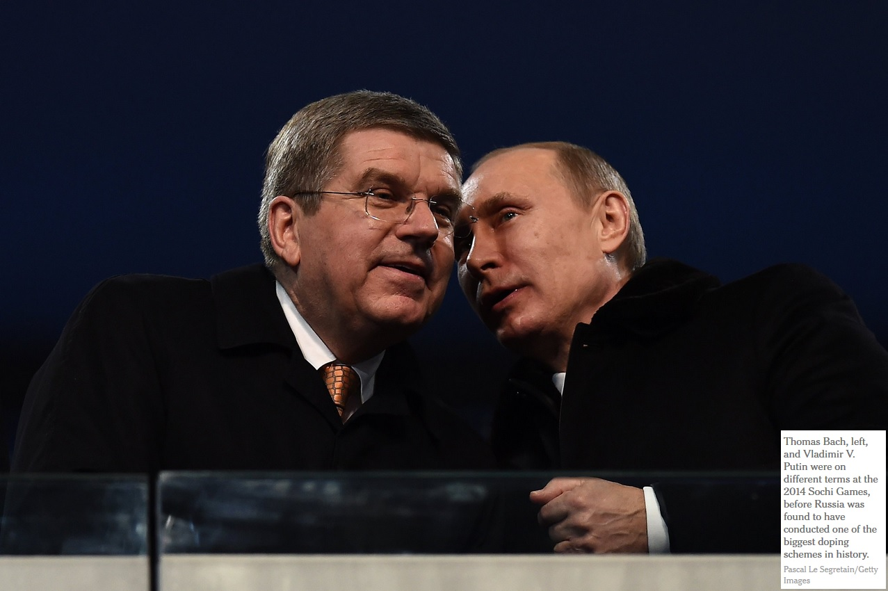 Thomas Bach, left, and Vladimir V. Putin were on different terms at the 2014 Sochi Games,
