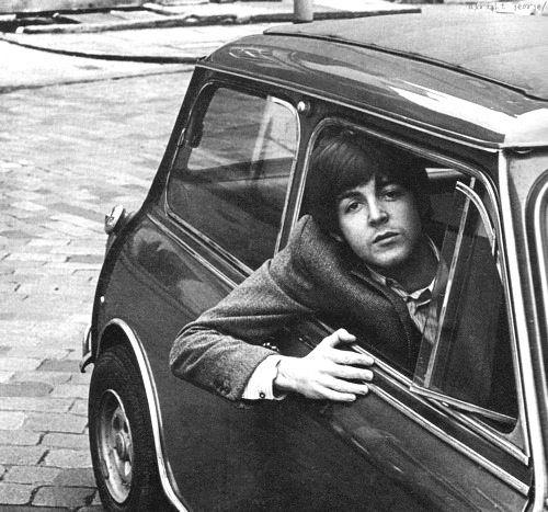 Beatle Paul McCartney in his Mini Cooper circa 1964.jpg