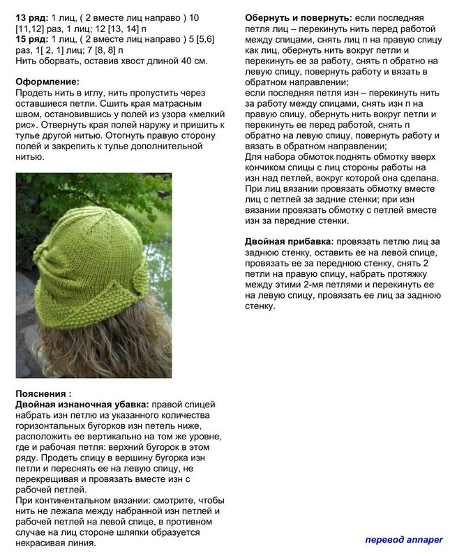 Вязание спицами шляпки женские с описанием на зиму 64