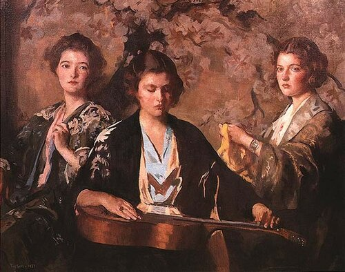 My Three Granddaughters Oil Painting by Edmund Charles Tarbell
