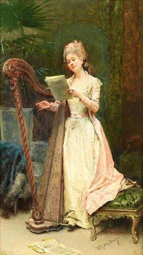 Raimundo de Madrazo y Garreta (Spanish, 1841-1920) The Harpist
