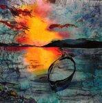 Закат на озере  холодный батик