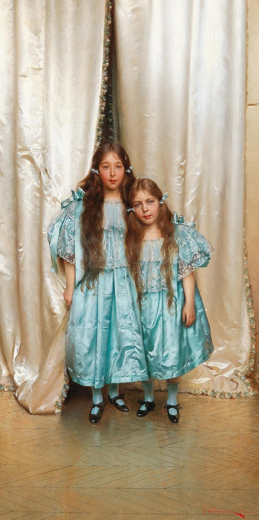 Frédéric Soulacroix (Рим 1858-1933 Чезена) Два друга в синих платьях (по семейной традиции, Амелия Флоренс Сулакройс 1898-1990, дочь художника)