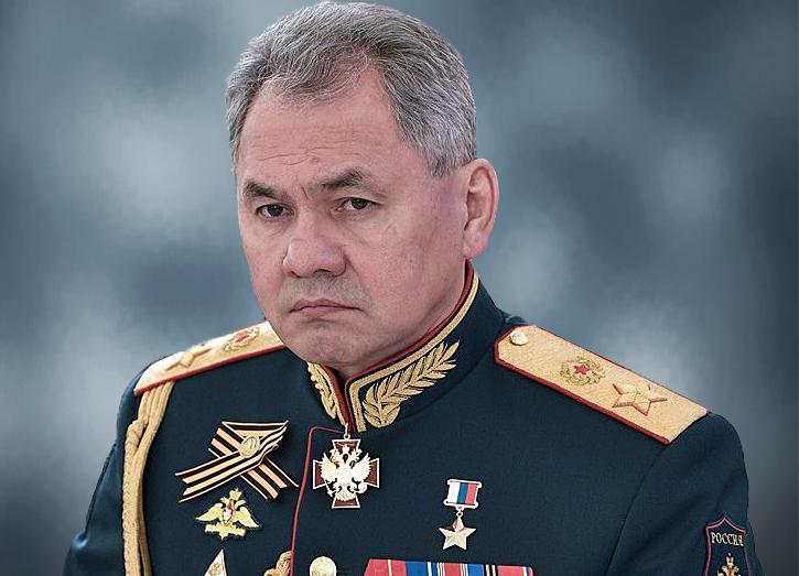 Сергей Шойгу министр обороны РФ на сером фоне