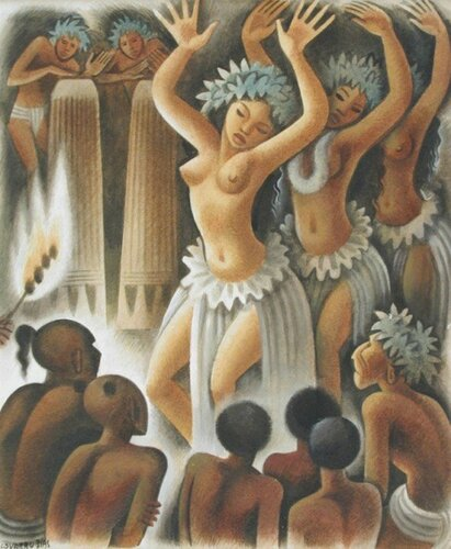 Miguel Covarrubias (1904 – 1957, Mexican)--  Natives In Ceremonial Dance