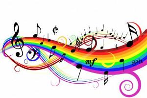 Картинка. Всемирный день музыки! Радуга - нотный стан!