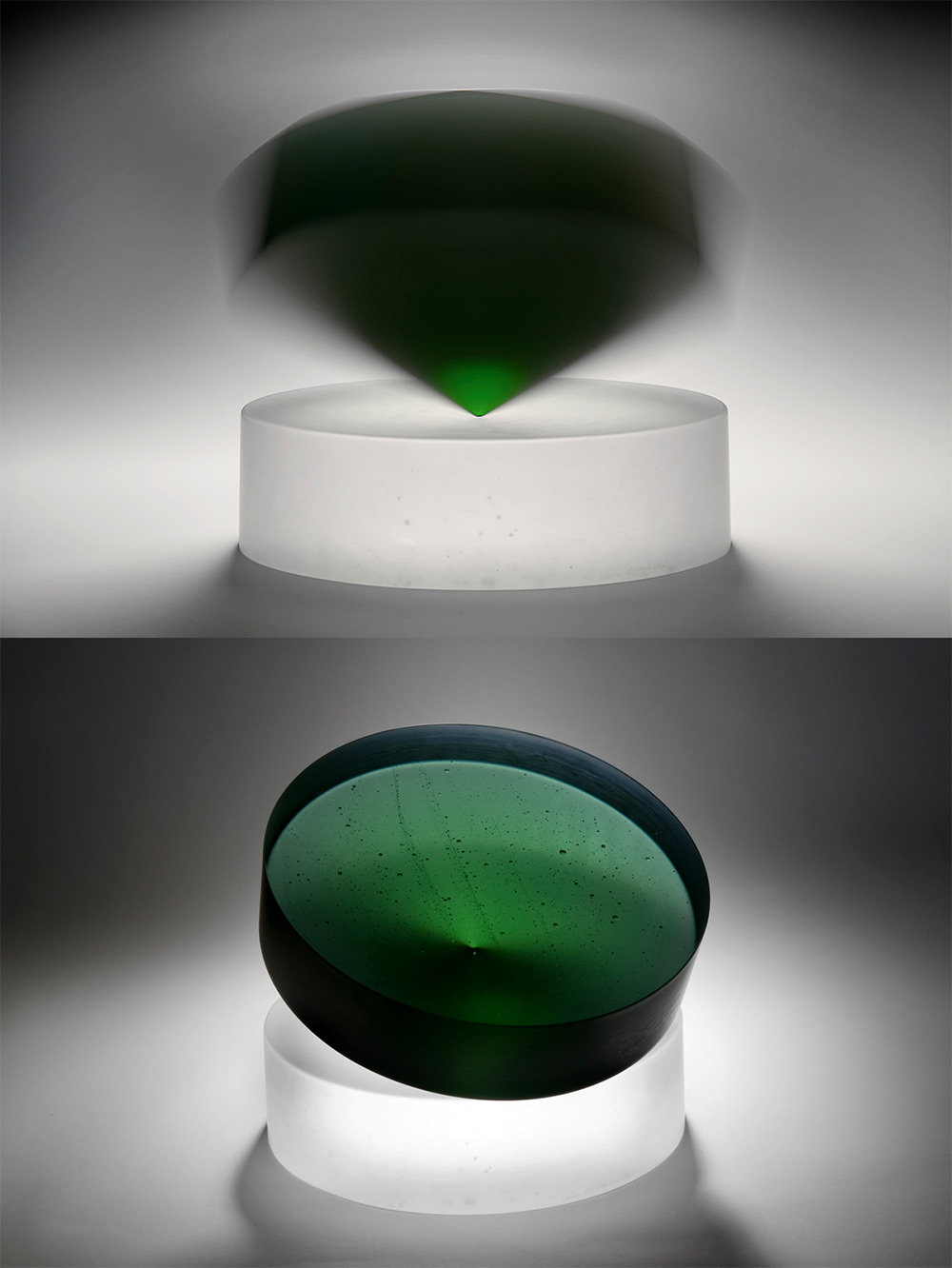 Kinetic Cast Glass Sculptures by Heike Brachlow