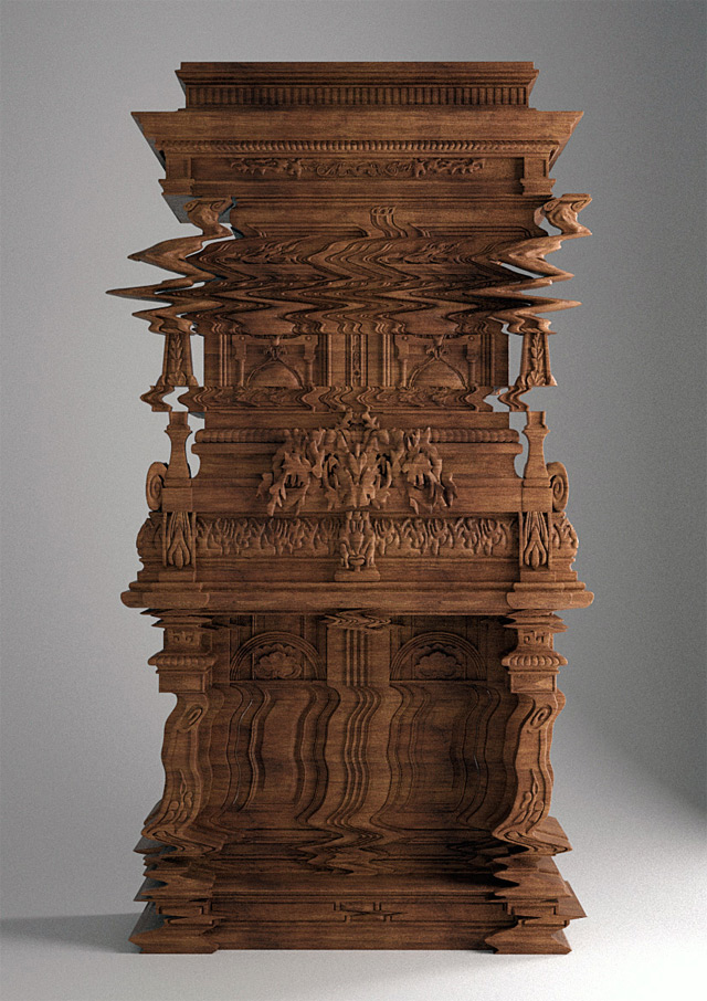 Good Vibrations: An Intricately Carved Cabinet Looks Like a Digital Glitch [Updated: It's a 3D Rendering of an Upcoming Piece] (2 pics)