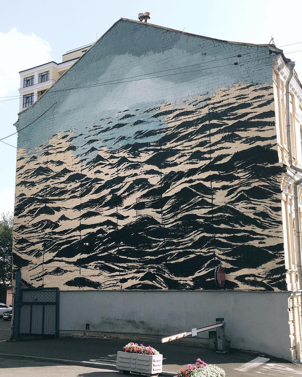 A Turbulent Black Sea Fills a Three-Story Wall in Kiev, Ukraine