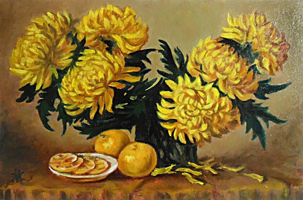 Злобина Марина. Желтые хризантемы.