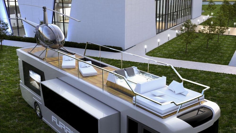 Роскошные дома на колесах с вертолетной площадкой и «умным» туалетом