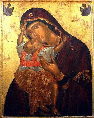"""Икона Божией Матери """"Кардиотисса"""". Византия, вторая четверть XV века. Иконописец Ангелос Акотантос. Византийский музей в Афинах."""