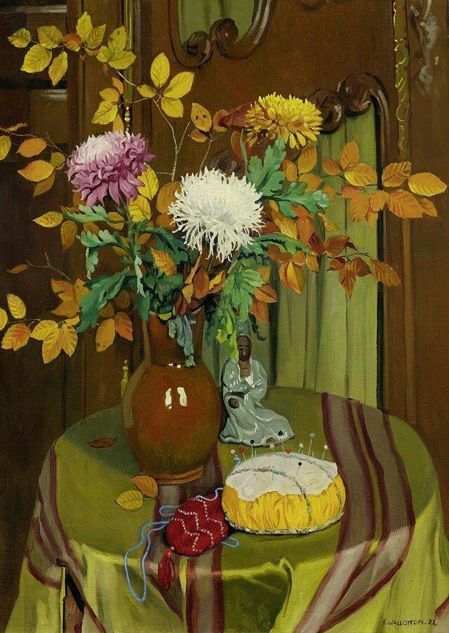 Феликс Валлоттон. Хризантемы и осенние листья.