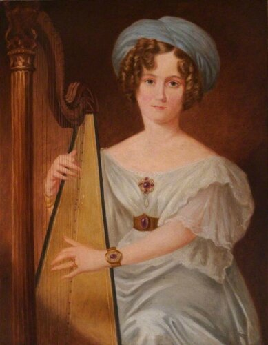 Unknown British Artist Lady Willoughby de Broke with a Harp. 1882 г. Bodelwyddan Castle Trust