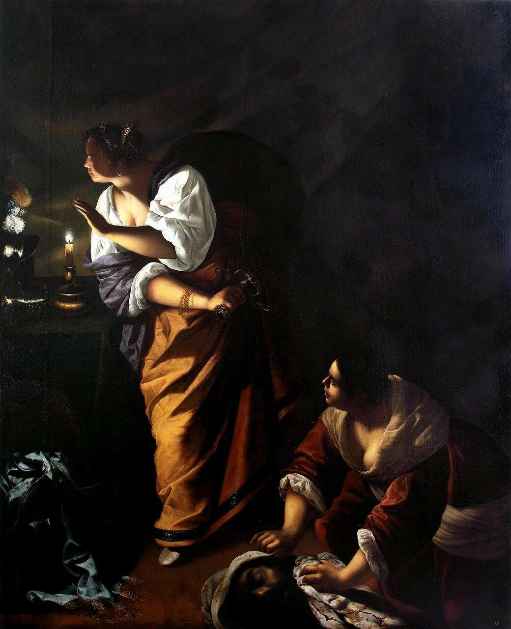Artemisia Gentileschi / Артемизия Джентилески (1593-1653) - Giuditta e la fantesca Abra con la testa di Oloferne / Юдифь и её служанка Абра с головой Олоферна ( около 1645-1650)