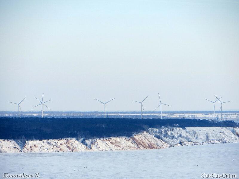 Замерзшая Волга в Ульяновске, зима 2018