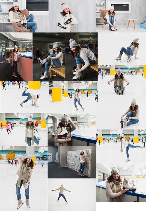 Клипарт - Девушка - фигуристка / Clipart - Girl - skater
