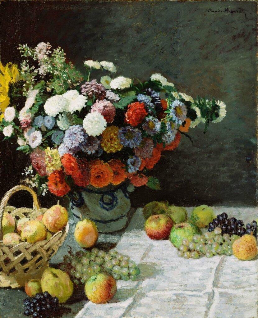 Клод Моне. Цветы и фрукты на столе..jpeg