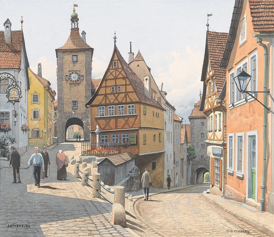 A motif from Rothenburg upon Tauber river.