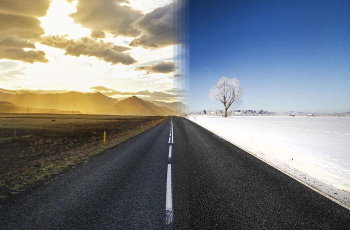 Лето в Исландии и зима в Германии.