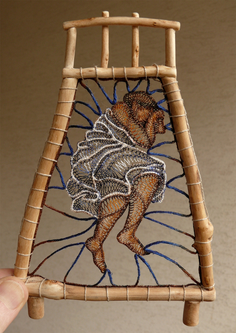 Figural Lace Sculptures Attached to Found Wood by Agnes Herczeg