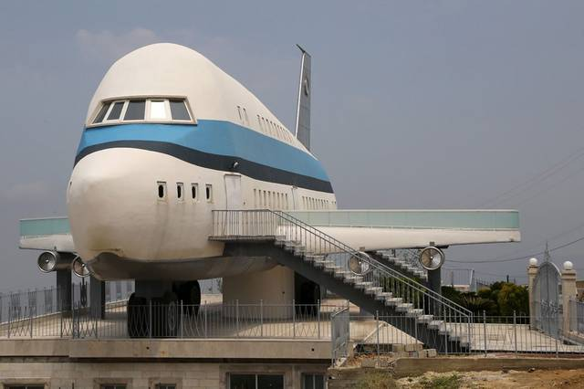 An airplane house is pictured in the village of Miziara, northern Lebanon. Photo by Aziz Taher/Reute