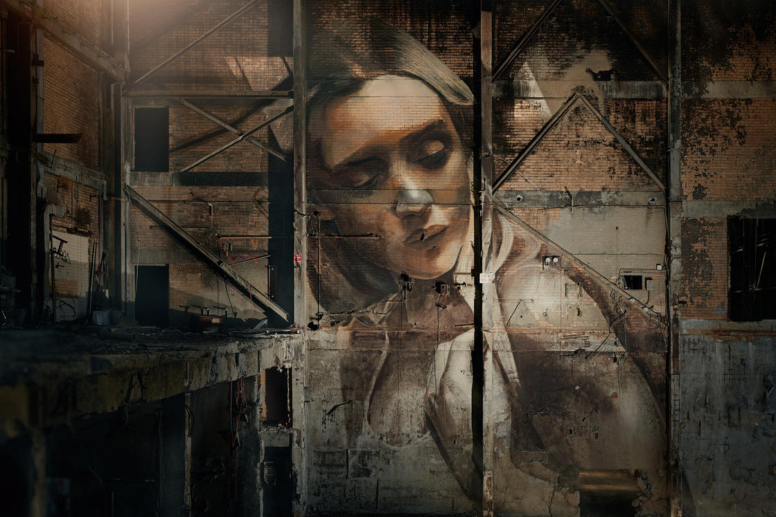 Rone is painting beautiful faces in abandoned houses