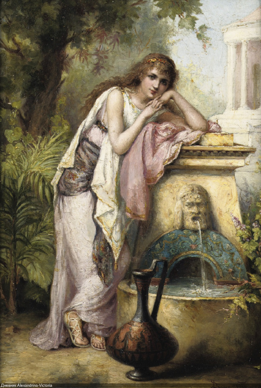 A young beauty by a fountain , 1899