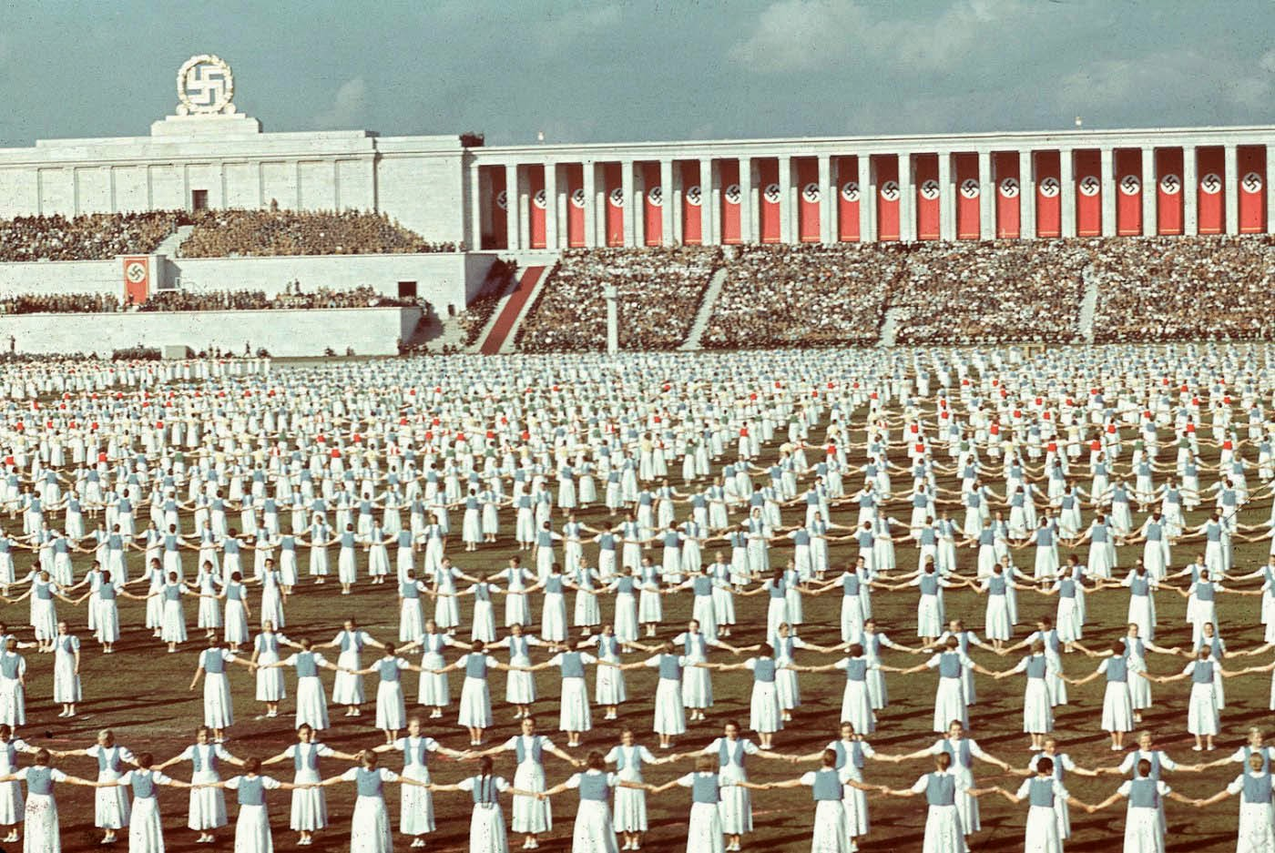 League of German Girls dancing during the 1938 Reich Party Congress, Nuremberg, Germany..jpg