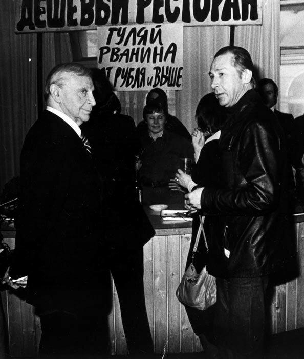 Марк Прудкин и Олег Ефремов. Фото Александра Гращенкова 10-летие Таганки