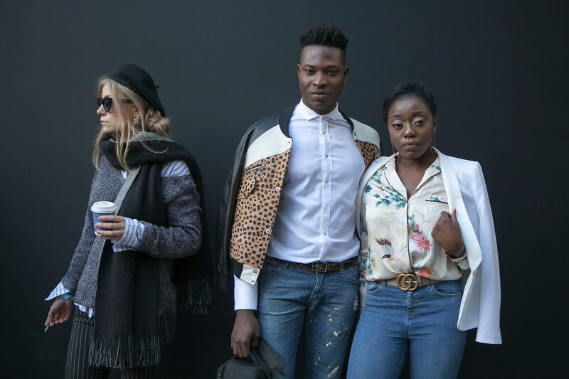 LONDON, ENGLAND - September 15, 2017 Beautiful and stylish woman and man posing during the London Fashion Week.