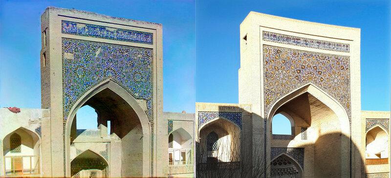 Образцы мозаики стен в Старой Бухаре.Медресе Мири-Араб. 1907-2017 год. №21876.jpg