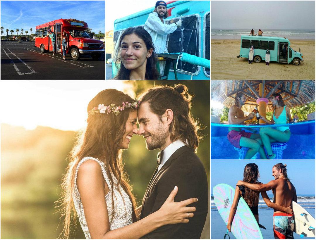 Бесконечный медовый месяц: молодожены путешествуют по Америке в переоборудованном школьном автобусе